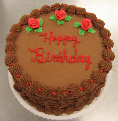 Deluxe Chocolate Cake w/Red Rose