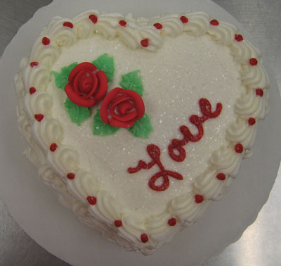 Valentine's Heart Cake w/Red Rose