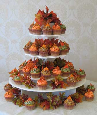 Plum And Orange Wedding Cakes